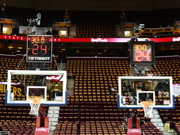 NBA testing Tissot's new clock (left) to one of the current one